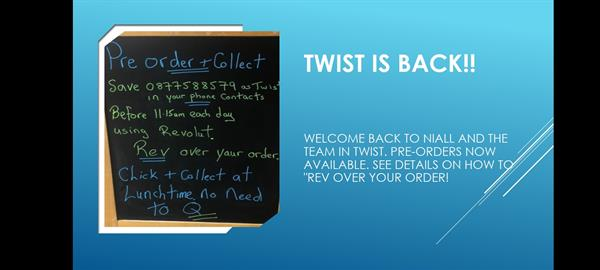 Twist catering is back for lunches